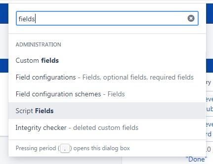 Jira find script fields in the search menu